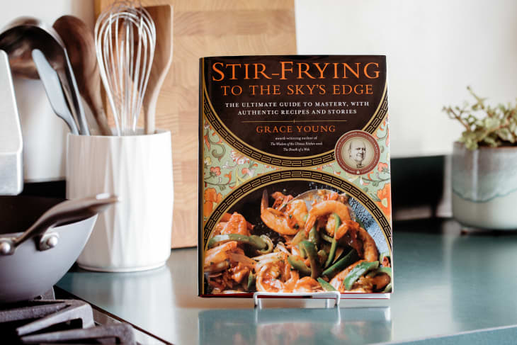 """The cookbook """"Stir-Frying to the Sky's Edge"""" on the kitchen counter"""
