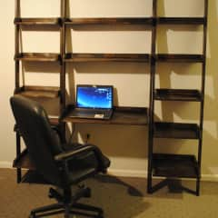 Leaning Wall Ladder Desk With Bookcase
