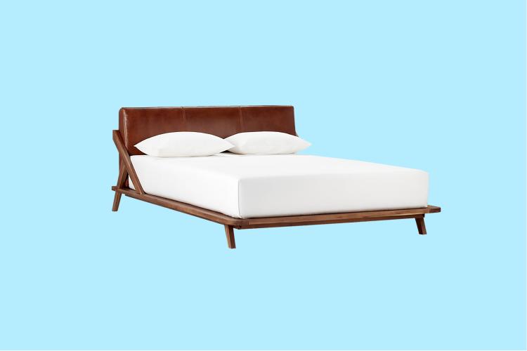 CB2 · Drommen Acacia Bed W/ Leather Headboard