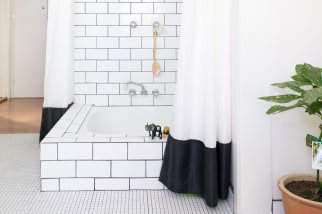 Black and white tiled shower