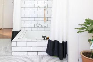 Black and white tiled shower