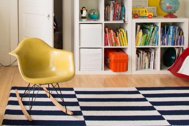 Custom painted mural and Eames rocking chair