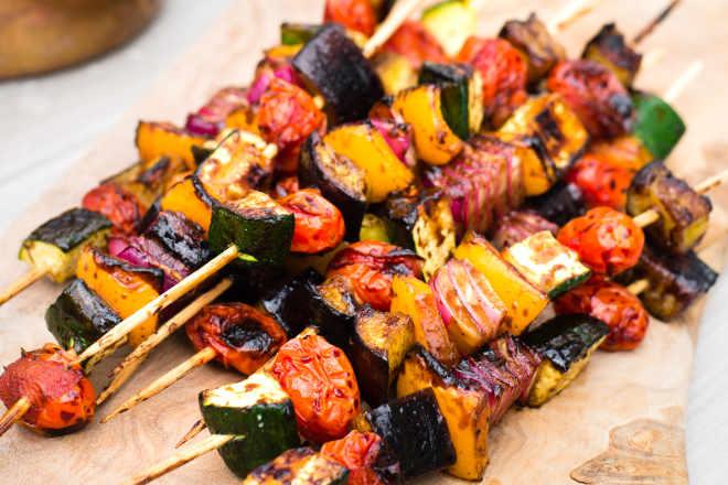 Recipe Easy Balsamic Glazed Grilled Vegetable Kebabs Kitchn