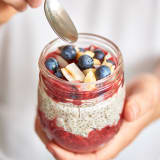 HT Chia Pudding - beauty - in hand, w/ jam.