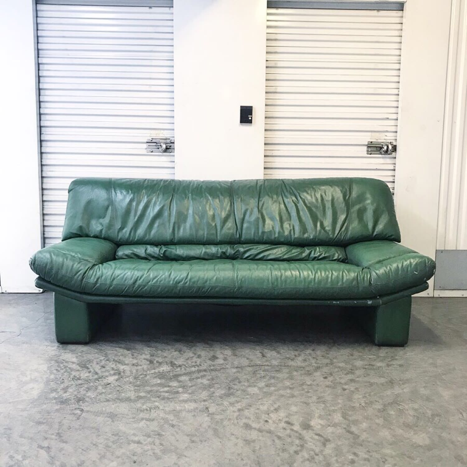 Stupendous Vintage 80S Italian Green Leather Sofa Andrewgaddart Wooden Chair Designs For Living Room Andrewgaddartcom