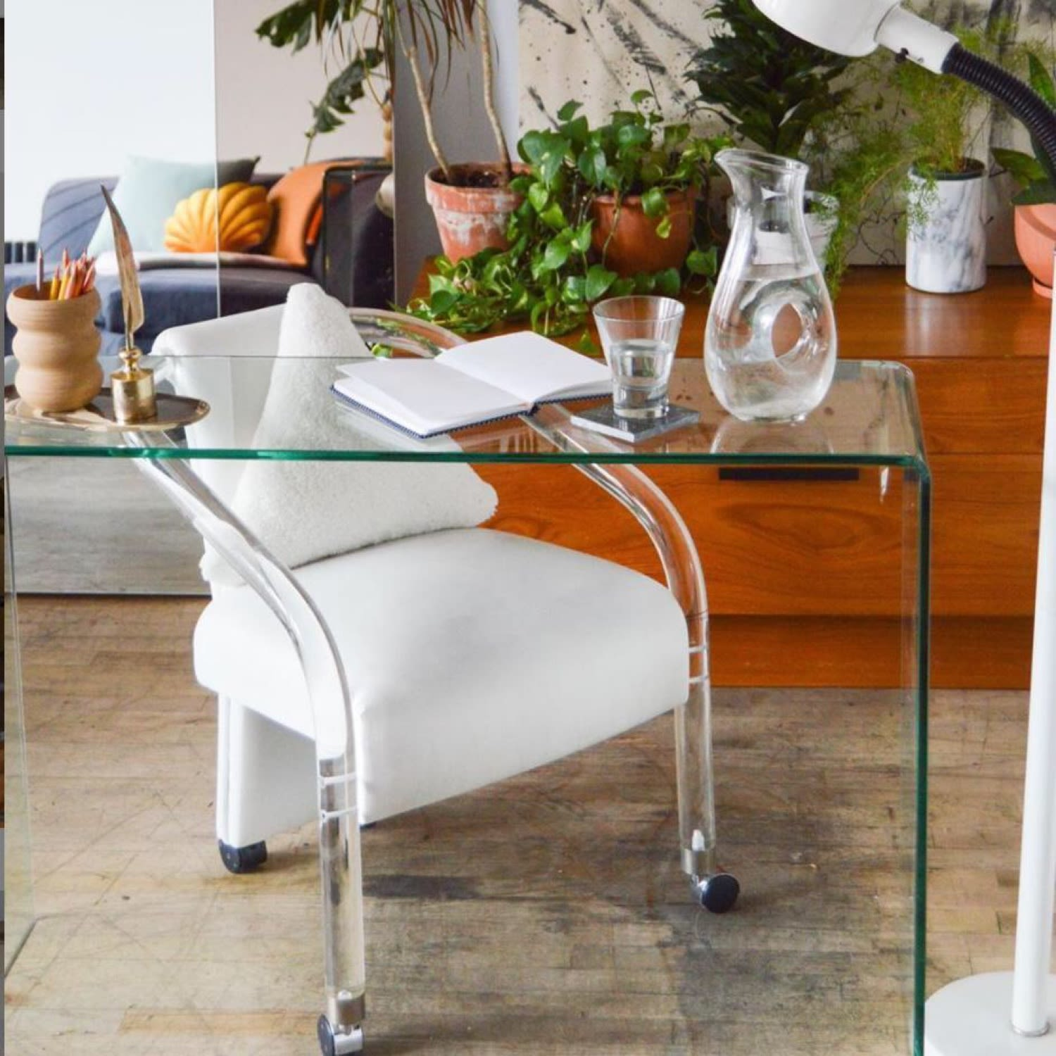 L Anfora Rattan Amphoren Lounge.Lucite Ivory Vegan Leather Rolling Chair Apartment Therapy S