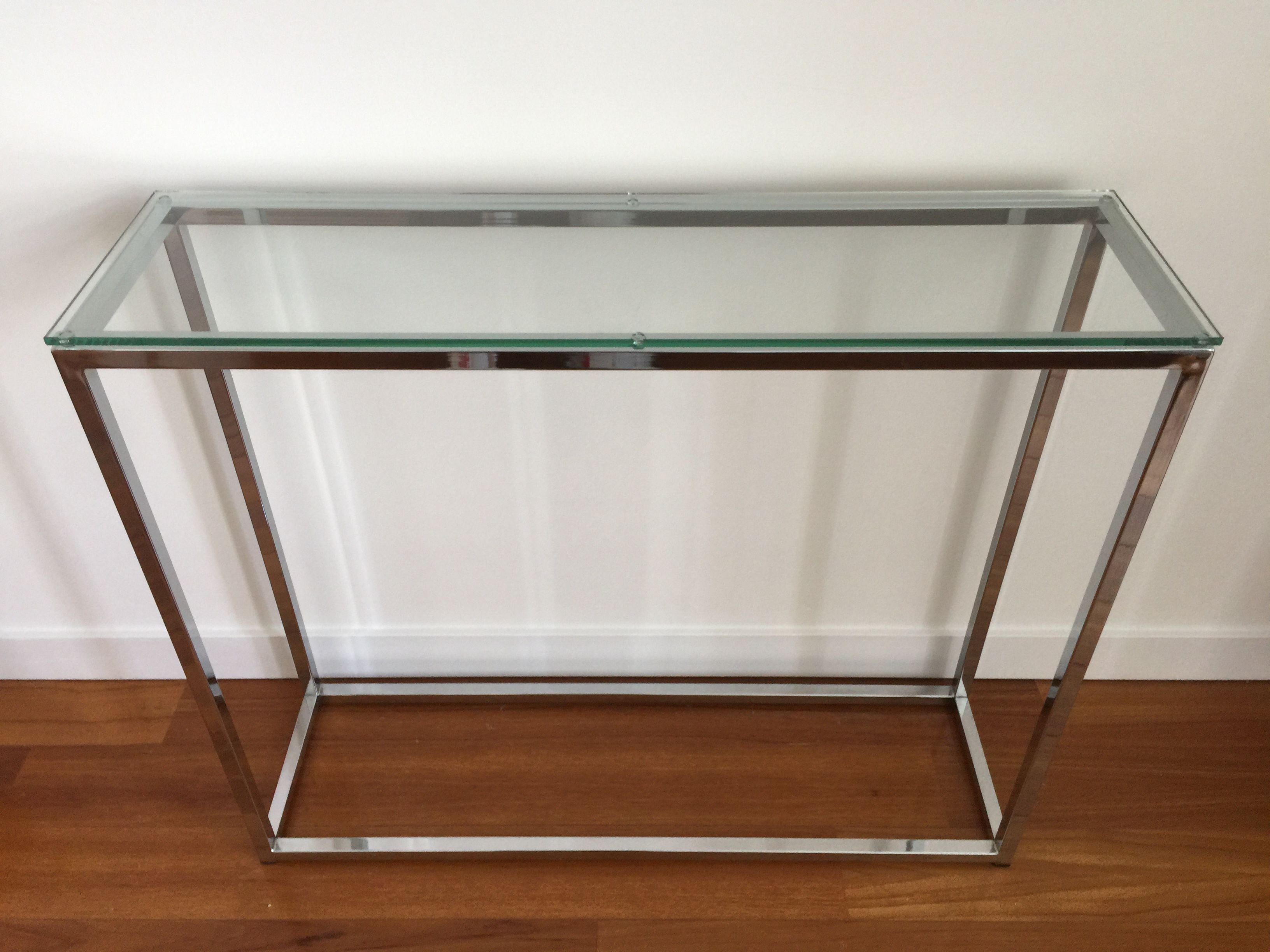 Cb2 Smart Glass Top Console Table Chrome Glass