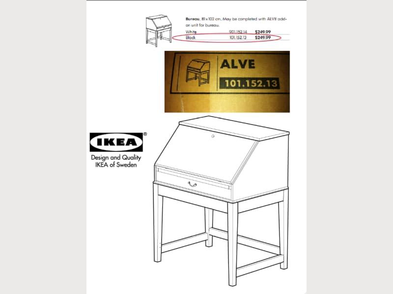 New still in box black ikea alve secretary desk apartment