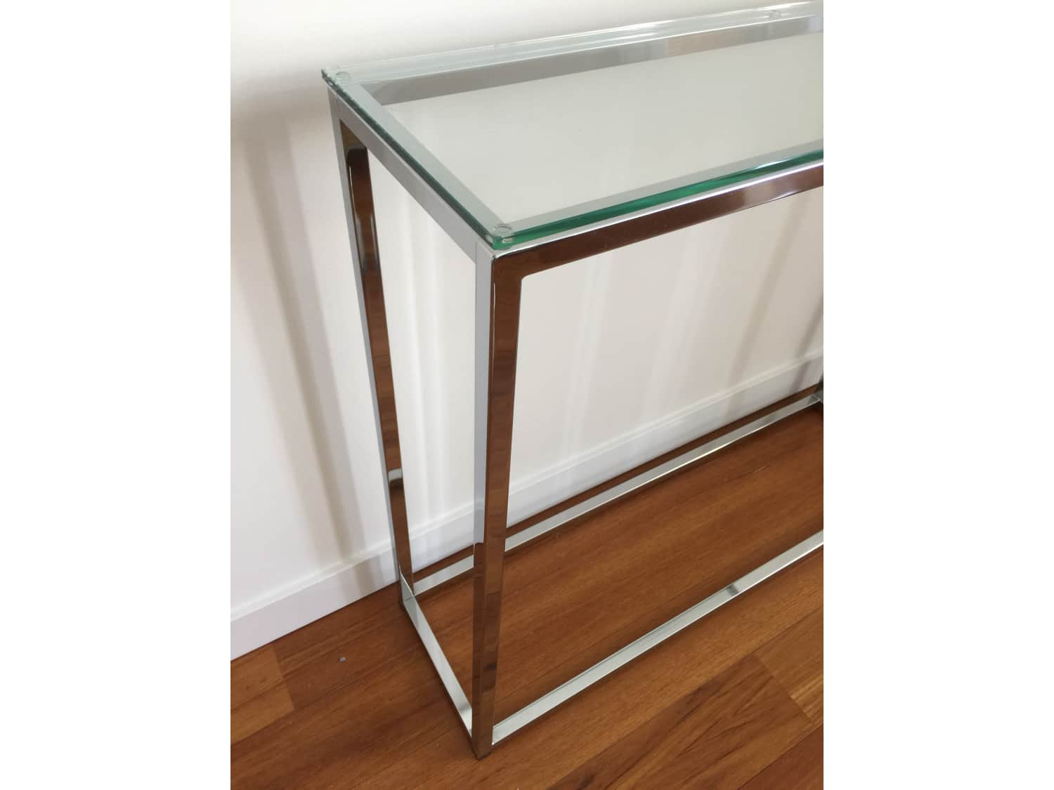Cb2 Smart Glass Top Console Table Chrome Glass Apartment