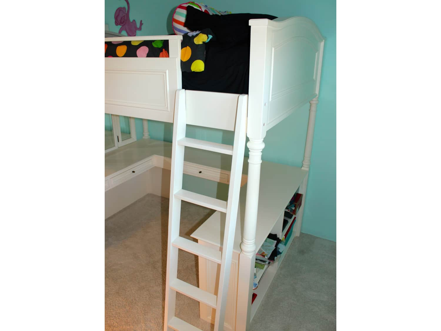 White Pottery Barn Teen Chelsea Vanity Loft Bed