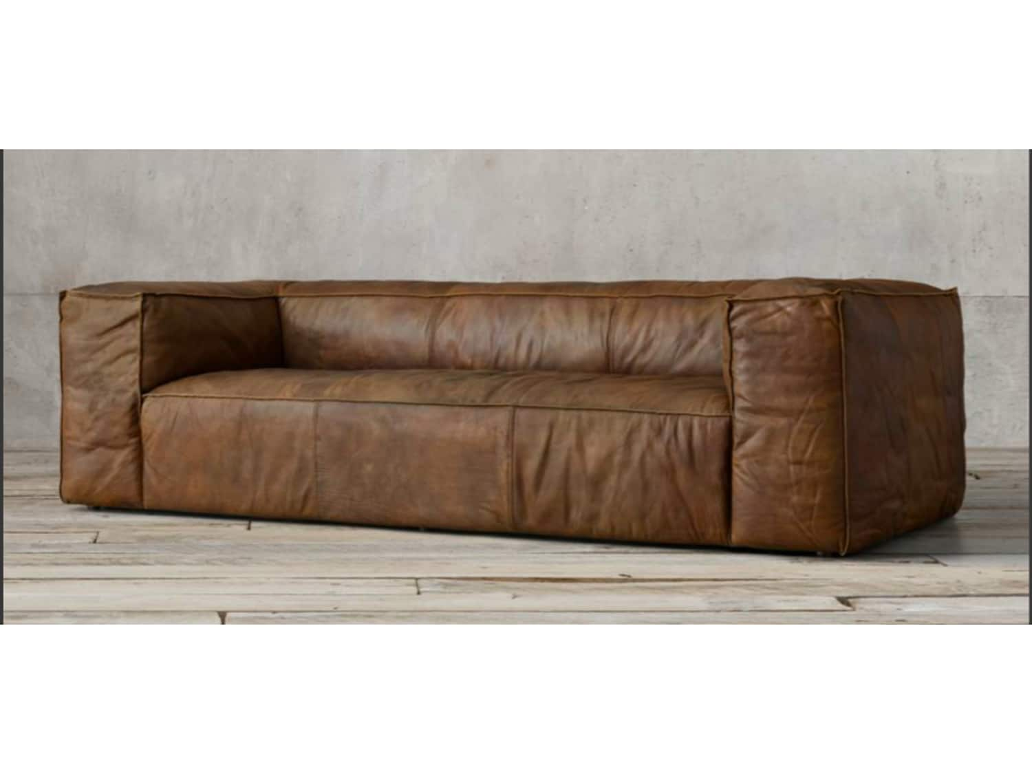 - Restoration Hardware Fulham Leather Couch/Sofa - Apartment
