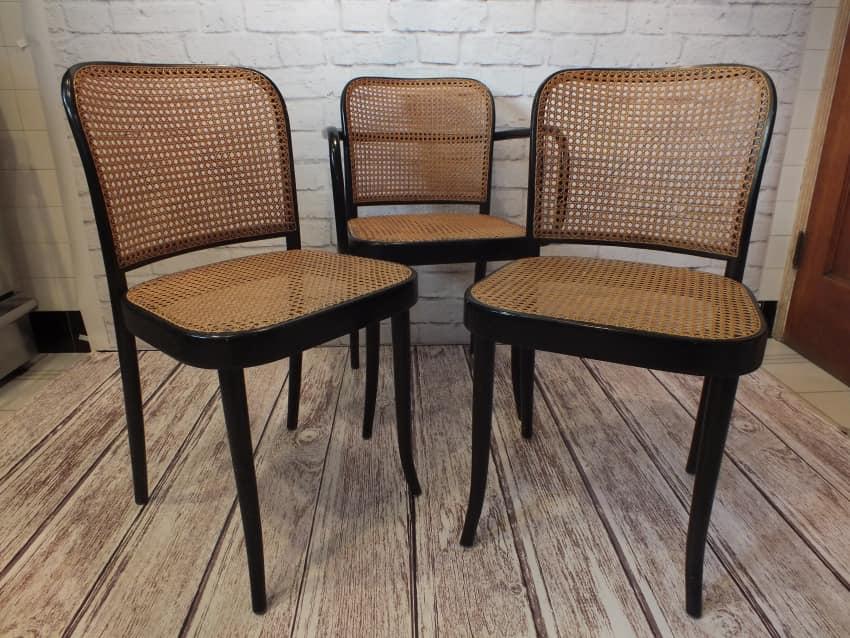 Josef Hoffman Thonet Bentwood Cane Chairs