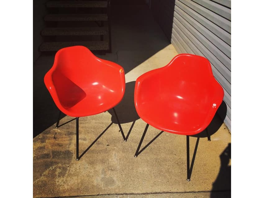 Vintage Orange Krueger Fiberglass Shell Chairs