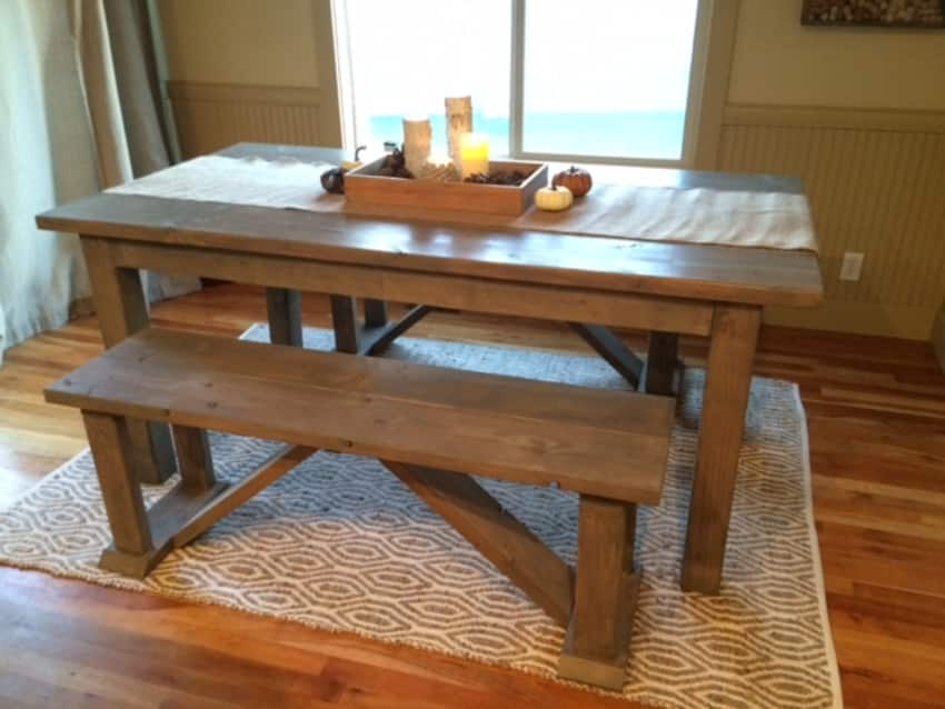 Super Custom Built Rustic Farm Table W Benches Ibusinesslaw Wood Chair Design Ideas Ibusinesslaworg