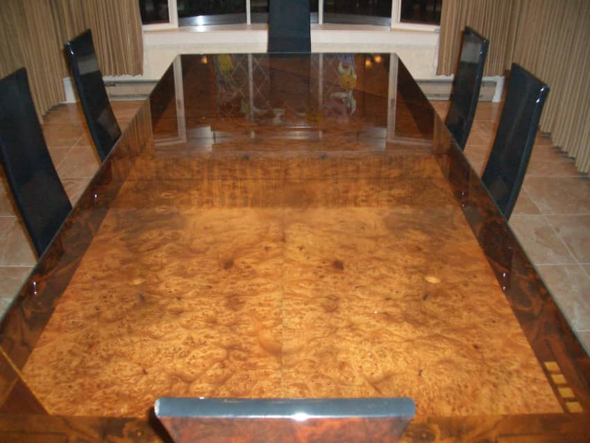 Art Deco Style Italian Dining Table In Burl Walnut Apartment - Burled walnut dining table