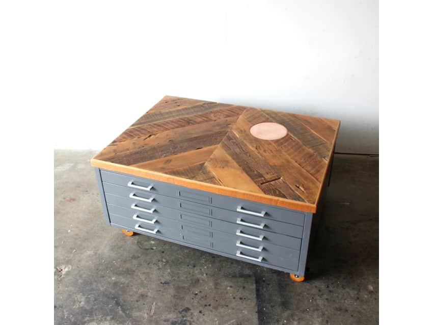 Flat File Coffee Table   Reclaimed Wood U0026 Copper