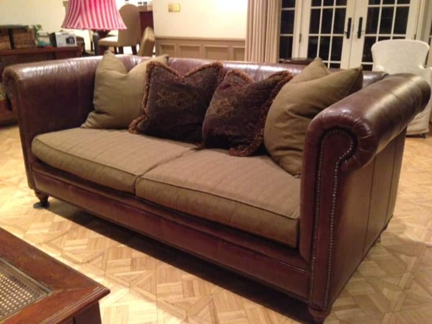 Drexel Heritage Leather/Fabric Sofa