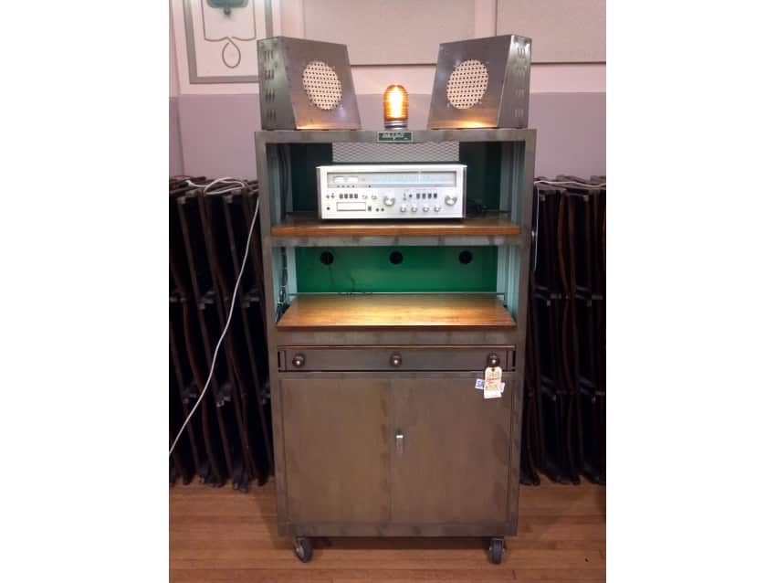 Vintage Lab Volt Industrial Metal Liquor Cabinet