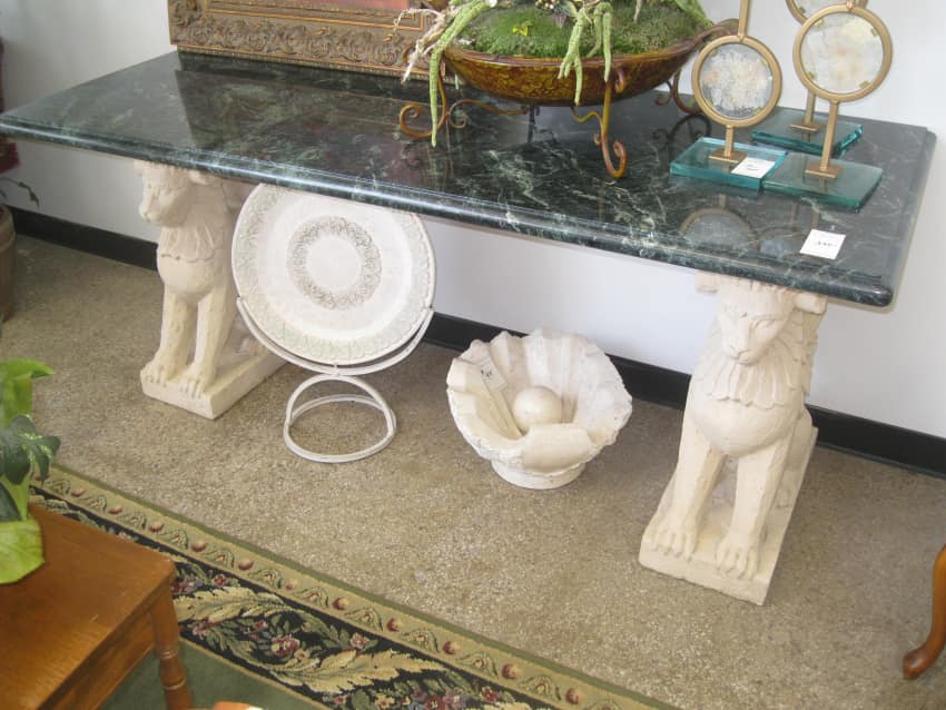 Griffin Pedestal Marble Hall Table