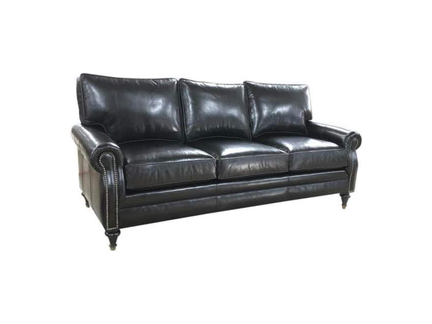 Brompton Black Leather 8 Way Hand Tied Sofa Couch