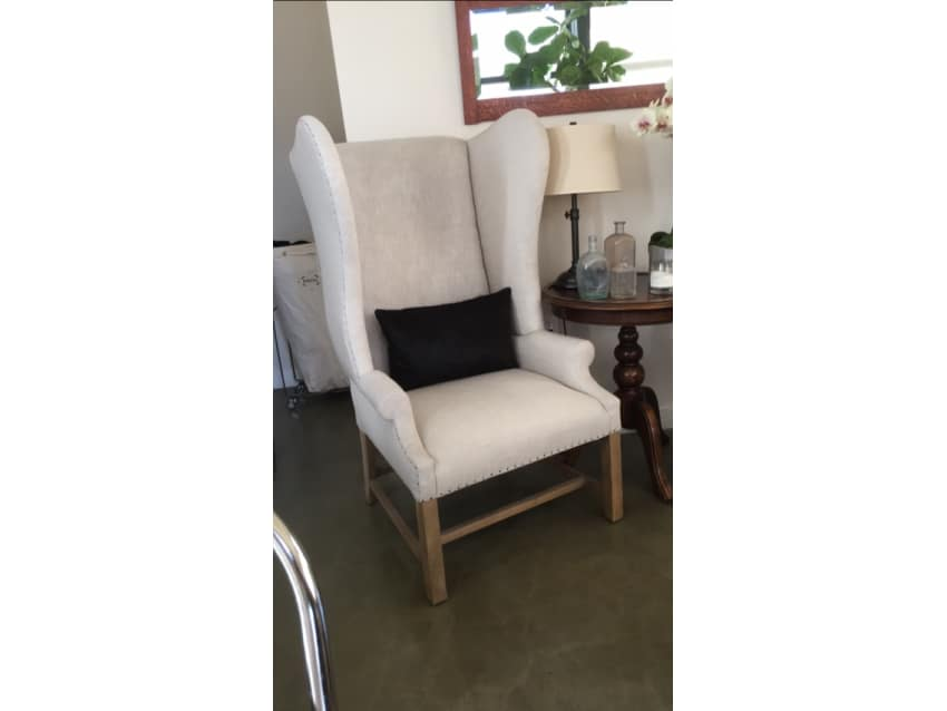 Restoration Hardware Linen Wingback Chair