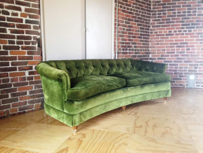 Vintage Hollywood Regency Green Velvet Tufted Sofa