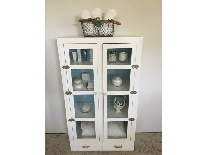 Vintage Glass Door Cabinetcupboard Painted White Apartment