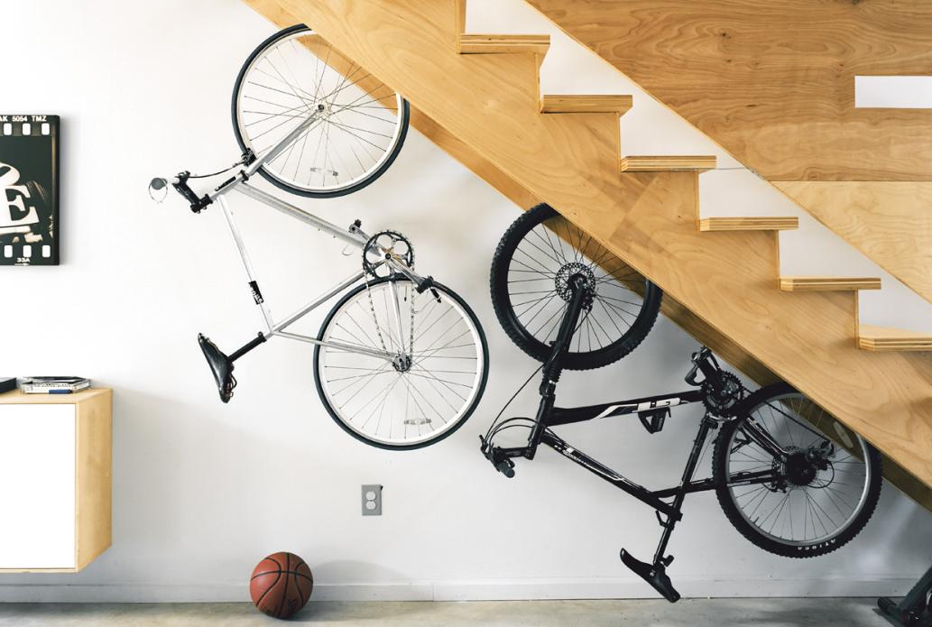 Bikes stores under stairs