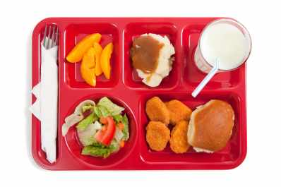 School lunch on a tray.