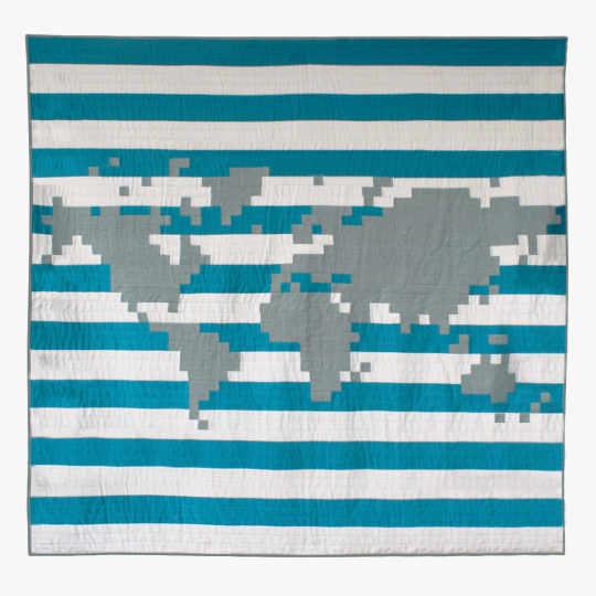 The World Queen Blue Grid Quilt