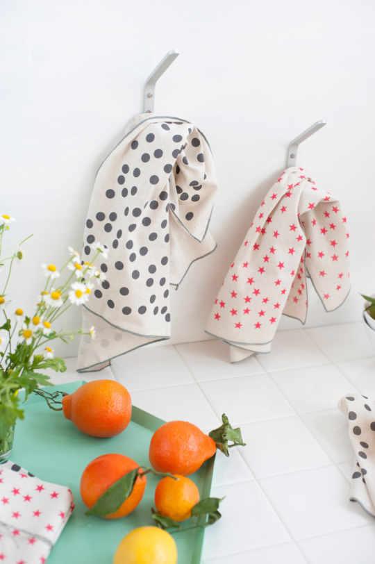 Star and Polka Dot Tea Towels from Anna Joyce Design