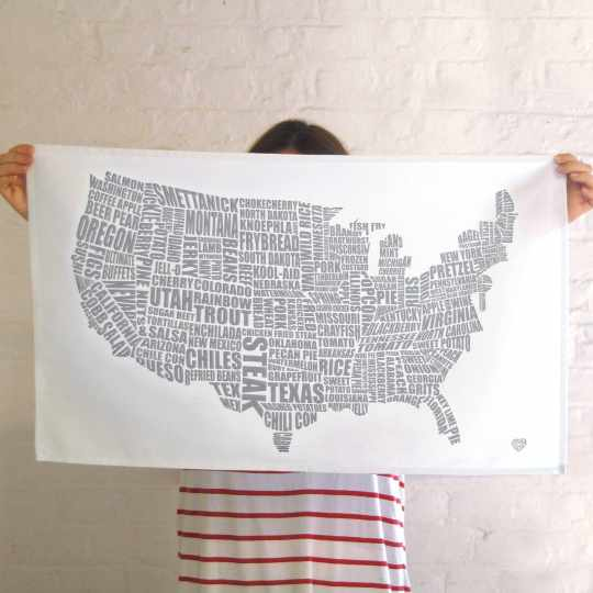 American Gastronomy Map Tea Towel from Lucy Loves This