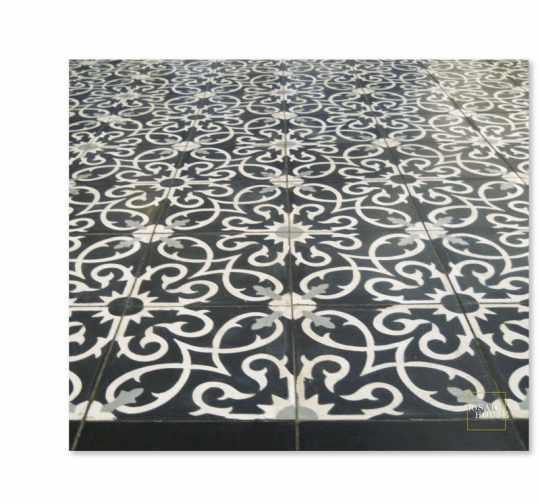 Black Lucifer Encaustic Tile