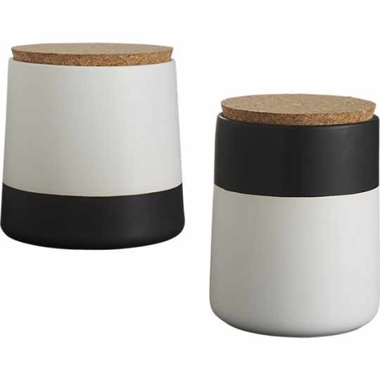 CB2 Dip Black and White Canisters
