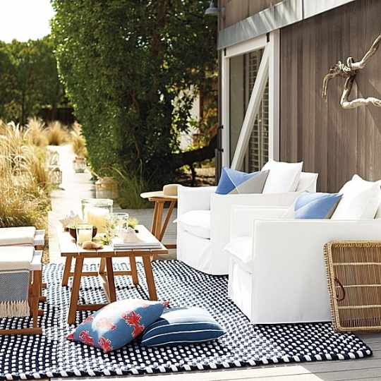 Navy & White Outdoor Rope Rug
