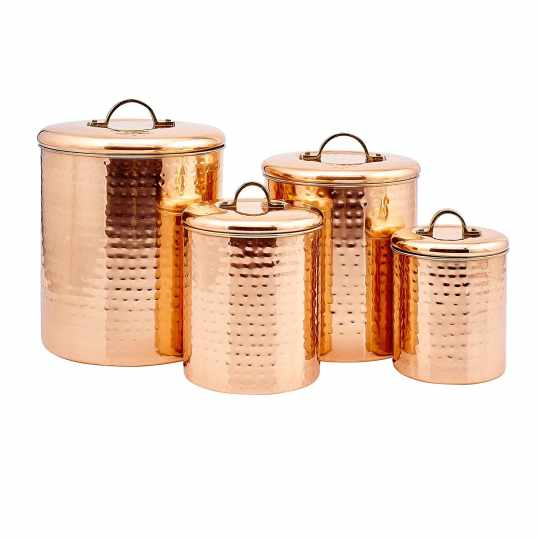 Old Dutch 4-Piece Hammered Copper Canister Set