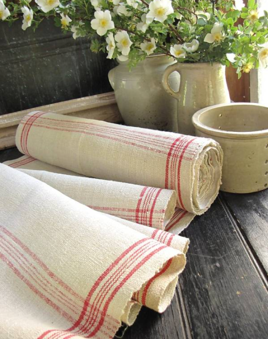 Vintage Hand Woven Linen Fabric with Rose Stripes