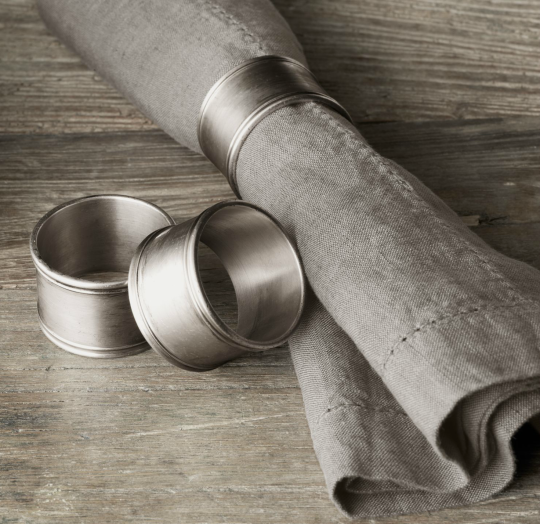 Hotel Silver Napkin Rings from Restoration Hardware