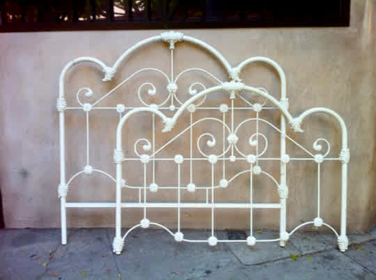 Vintage White Iron Queen Bed