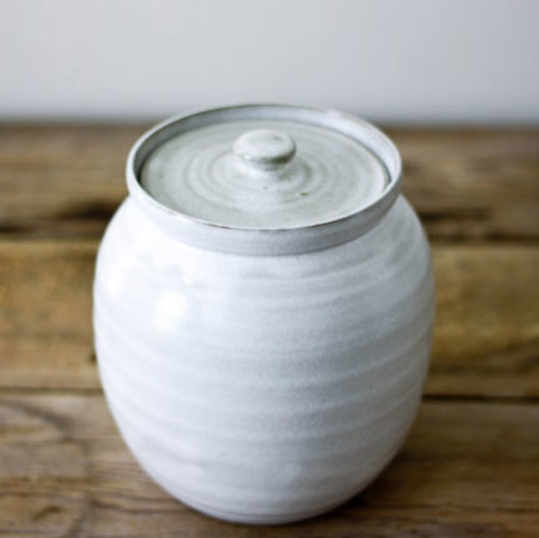 Vintage White Pottery Cookie Jar from J.B. Cole