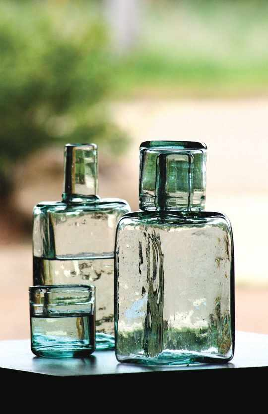 Recycled Bedside Carafe and Drinking Glass