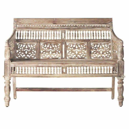 Maharaja Hand-Carved Settee in Sunblasted White