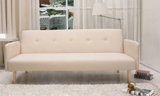 Mid Century Beige Convertible Futon Sofa