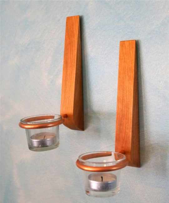 FreeStyle Cherry Wood Taper Candle Sconces