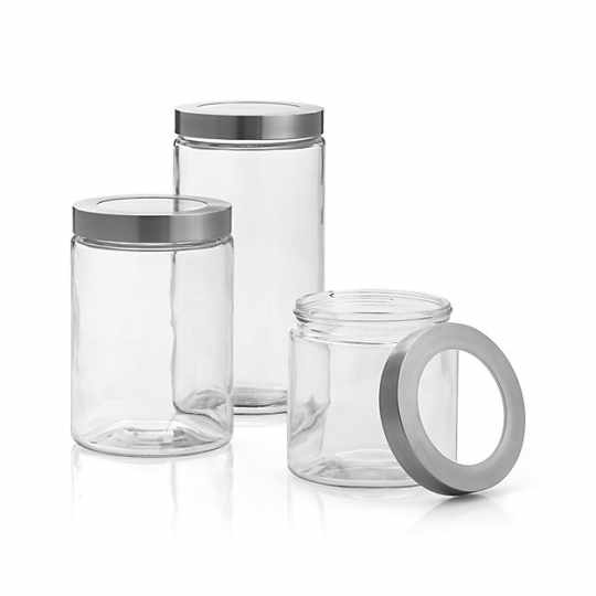 Crate & Barrel Glass Canisters with Stainless Steel Lid