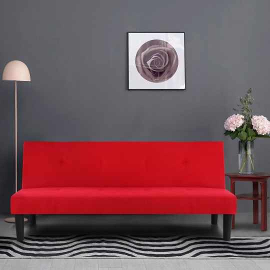 IKAYAA Microfiber Fabric Convertible 3 Seater Sofa Bed
