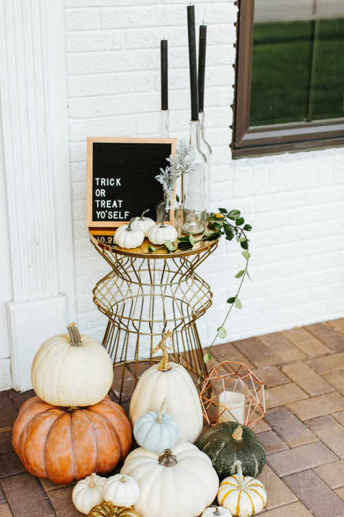 Halloween Pumpkins on Porch with Geometric Table and Trick of Treat Yo'Self Sign