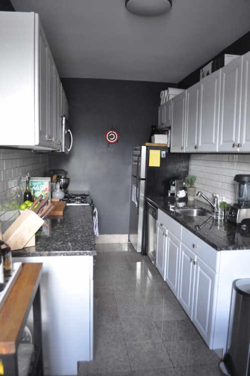 a black and white galley kitchen kitchn