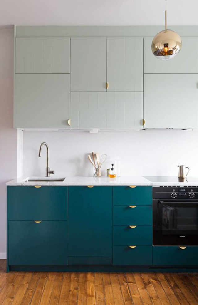 Color Ideas for the Kitchen: Dark Teal Cabinets ...