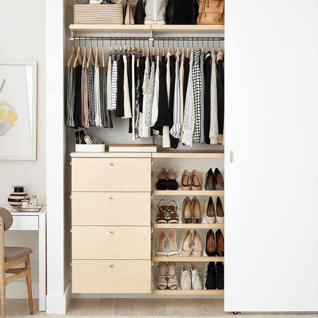 the best closet systems to organize your wardrobe apartment therapy. Black Bedroom Furniture Sets. Home Design Ideas